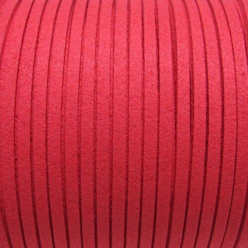 Lot de 3m fil suédine rouge corail cordon daim velvet textile 3mmx1mm *C206