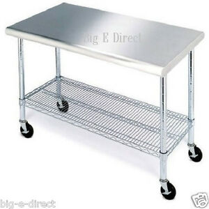 Rolling Kitchen Table Cart Stainless Steel Cutting Top