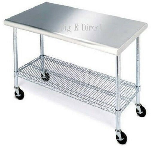 Work Table Stainless Steel Top Heavy Duty Rolling Adjustable - Stainless steel kitchen work table cart