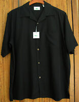 NWT Mens Silk Camp Shirt Black Solid Hawaiian Cool Dress Casual L XL XXL XXXL