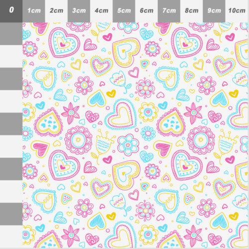 Printed Bow Fabric A4 Canvas Love Hearts and Flowers LH4 Make glitter bows