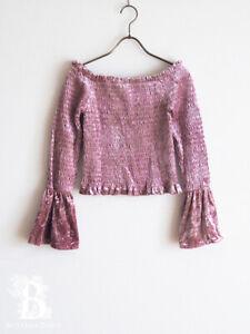 Honey-Cinnamon-Pink-Velour-Blouse-Top-Shirring-LARME-Hime-Lolita-Japan-M-E047