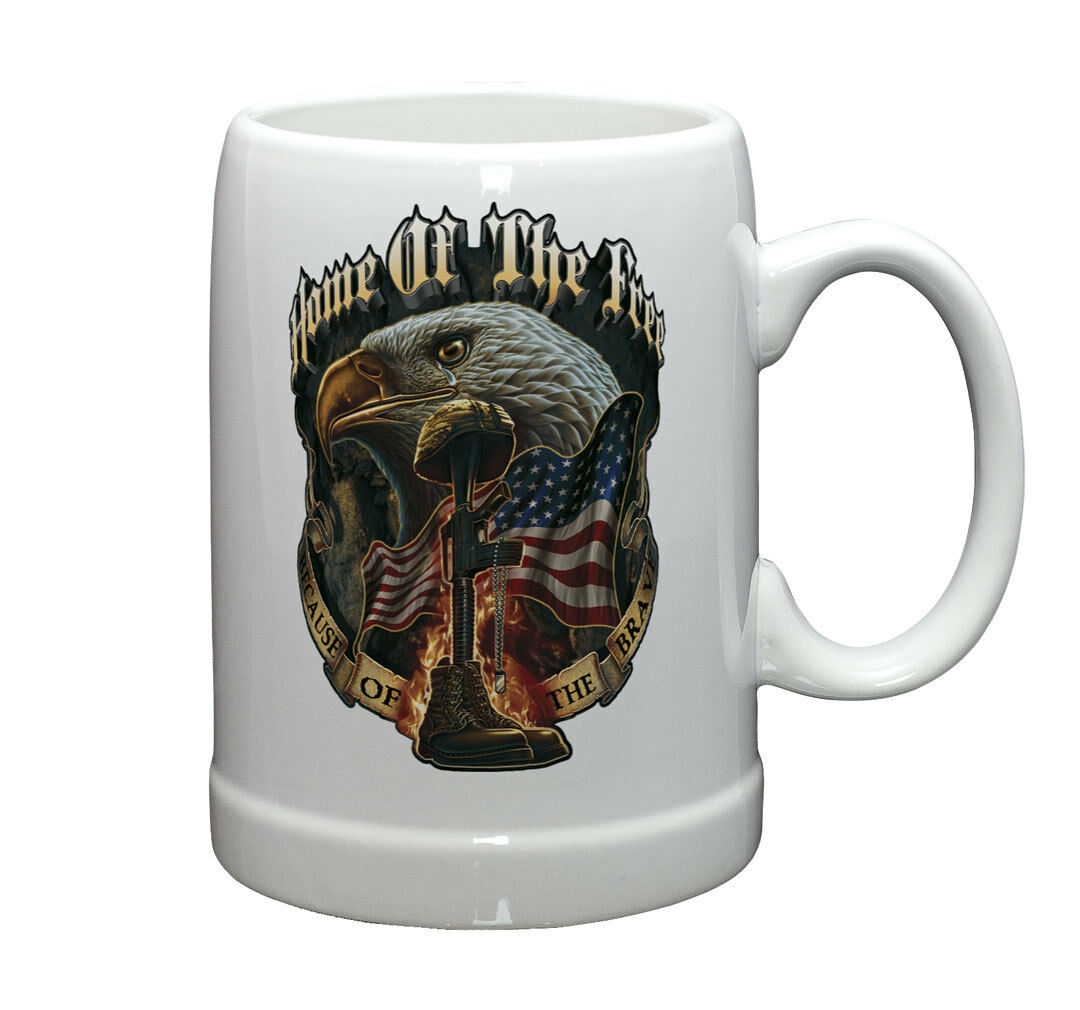 EAGLE- HOME OF THE FREE BECAUSE OF THE BRAVE-   20 OZ STONEWARE COFFEE MUG