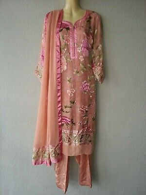 3 Pezzi Outfit India Pakistan Shalwar Salwar Kameez Tunica Dupatta Tg S/m-mostra Il Titolo Originale Beneficiale Per Lo Sperma