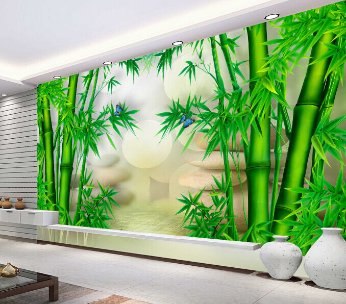 3D Grün Bamboo Tree Paper Wall Print Decal Wall Wall Murals AJ WALLPAPER GB