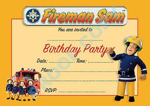 24 Fireman Sam Pack Of 10 Kids Children Birthday Party Invitations
