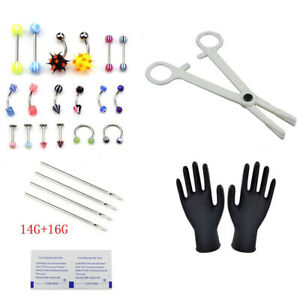 PRO-Body-Piercing-Kit-14G-16G-Body-Jewelry-Scissors-Glows-Needles-Eyebrow-P