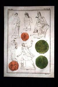 Apollino-Anchise-Anfione-Incisione-colorata-a-mano-del-1820-Mitologia-Pozzoli