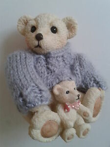 TEDDY-BEAR-amp-HOLDS-BABY-TEDDY-FIGURE-WEARS-LILAC-KNITTED-JUMPER-4-5-INS-SITTING
