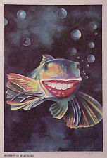 Jon Reich Happy Fish  Print Fantasy Whimsical limited edition size 300 ca. 1984.
