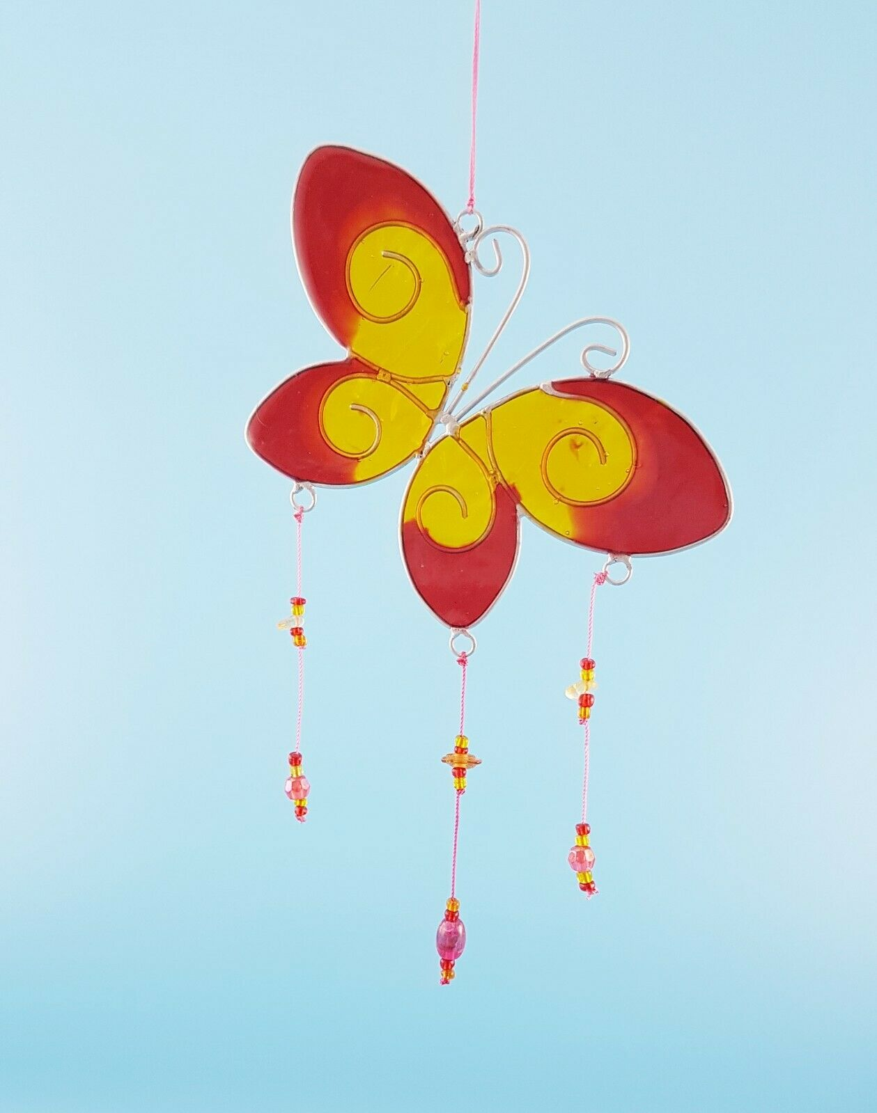 Red and yellow Butterfly with beads sun catcher stained glass effect garden gift