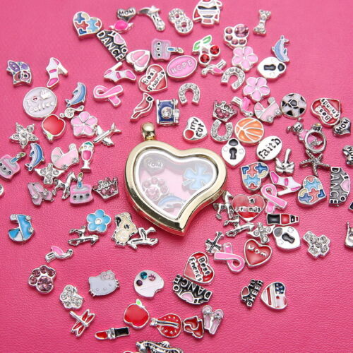 Sale 30mm Living Memory Floating Charms Glass Locket Pendant Necklace Free Chain