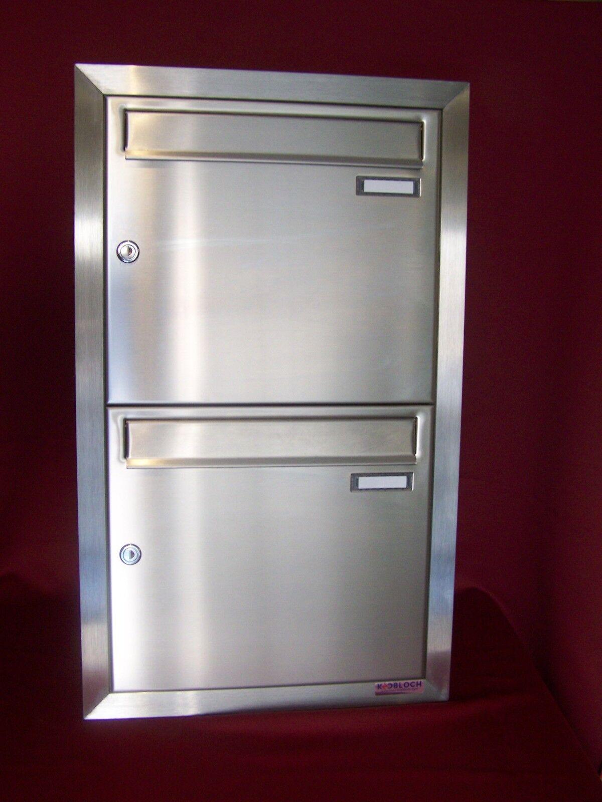 Doppel Briefkasten Unterputz Edelstahl 2 teilig übereinander Postkasten UPH16