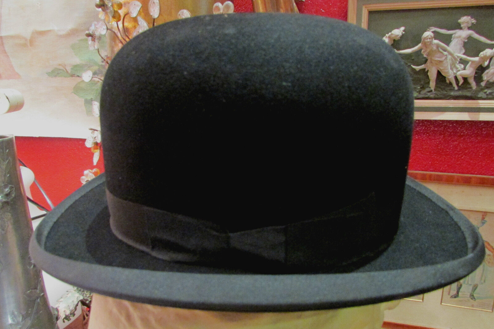 Antiguo sombrero melón g w stenson & co londres pauron parís nuevo época 1900