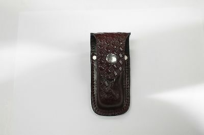 "4"" Leather Knife Sheath Pocket Brown Folding Button Belt Clip Blade Cover #15"