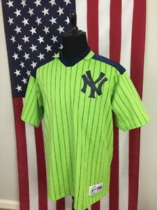 vtg 90s New York Yankees Lime Green Jersey Shirt men s XL ny made in ... a678e5413a8