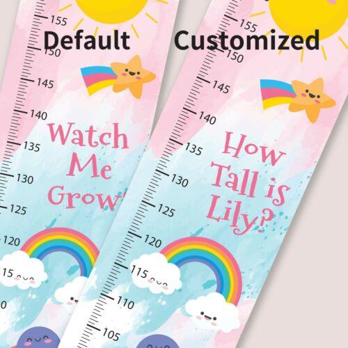 Personalised Girls Cute Sky Cloud Rainbow Star Sunny Growth Height Measure Chart