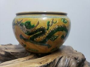 Chinese-WUCAI-Porcelain-Cracked-Glaze-Ginger-Jar-Pen-Washer