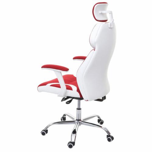 Schreibtischstuhl Drehstuhl rot//weiß Sliding-Funktion Bürostuhl HWC-F12