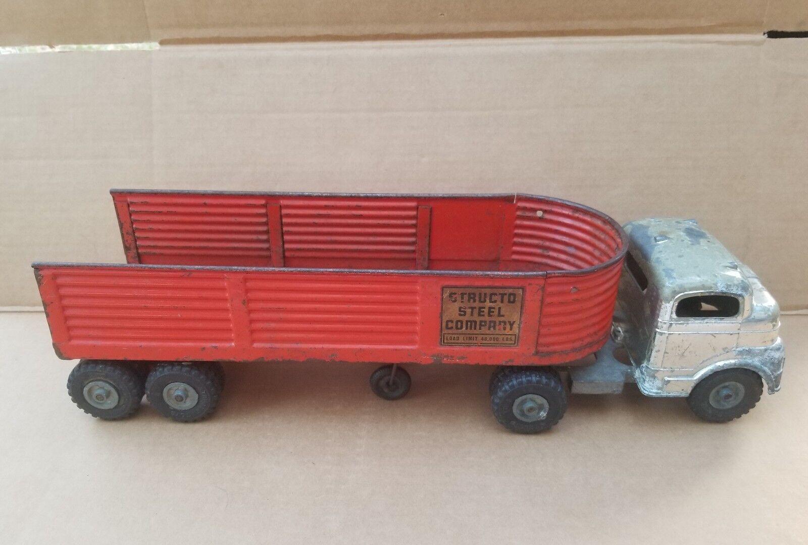 Vintage década de 1950 Structo Semi Cab & Structo Acero empresa Braddom Acero Prensado