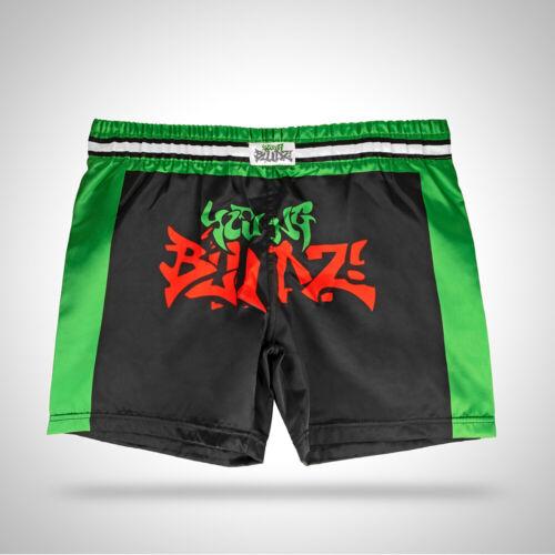 Young Bludz Kids Childs Black Kickboxing Muay Thai Boxing Satin Shorts 7-10 Year