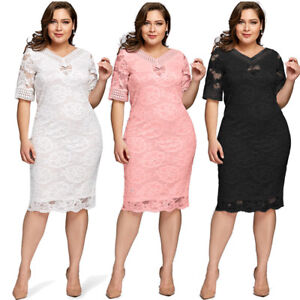 Details about Plus Size Bodycon Women Lace Half Sleeve Summer Casual  Evening Party Midi Dress
