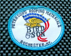 PETERSONS-ROOFING-MATERIAL-BIRD-SON-EMBROIDERED-PATCH-ROCHESTER-NY-3-7-8-034-x-3-034
