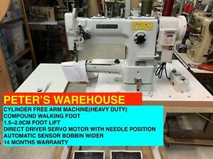 INDUTRIAL CYLINDER SEWING MACHINE, COMPOUND WALKING FOOT WITH DIRECT DRIVER MOTO