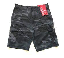 UNIONBAY Men's Flex Waist Stretch Cargo Shorts Black Camo Size 42