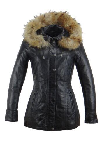 korte afneembare zwart jas jas met grijs of Manta capuchon Dames lederen BwYEqa1xp