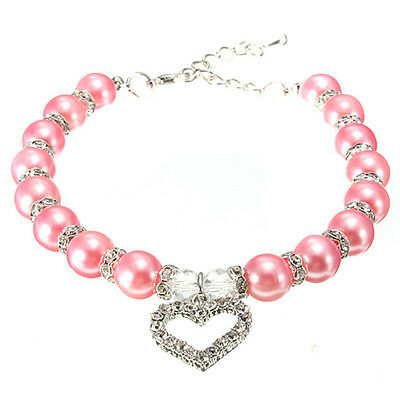 Pet Dog Necklace Pearls Collar with Crystal Heart Charm Pendant Jewelry Pink New
