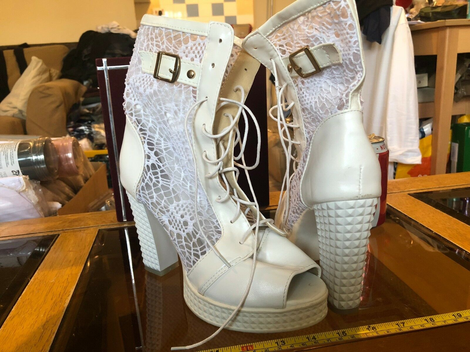 White Ankle High High High Heels Sexy Open Toe Lace Thick Heel Platform Sole Size UK 7 73f0dd