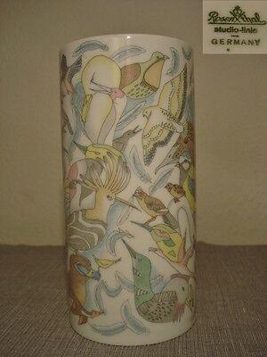Rosenthal Vase 70er Op Pop Art Vögel Vogel 70s German bone china Ornithologie