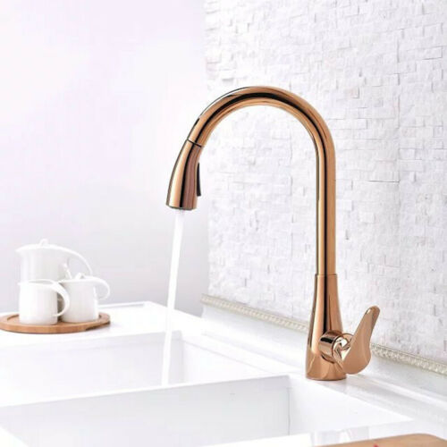 Kitchen Basin Sink Mixer Tap Rose Gold Single Handle Faucet Vanity Faucets