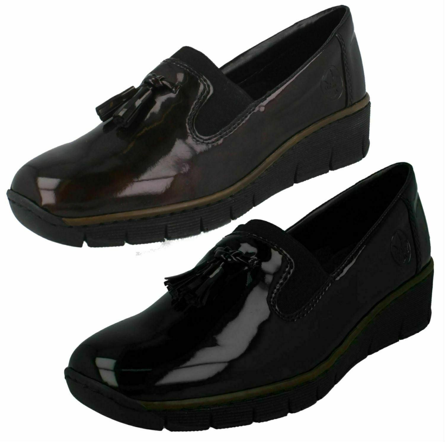 Womens rieker Formal Elegant Black tassel detail no laces wedge shoes size