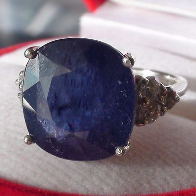 WONDERFUL! BIG! 12.50 CT NATURAL BLUE SAPPHIRE 925 STERLING SILVER.SIZE 6.5.