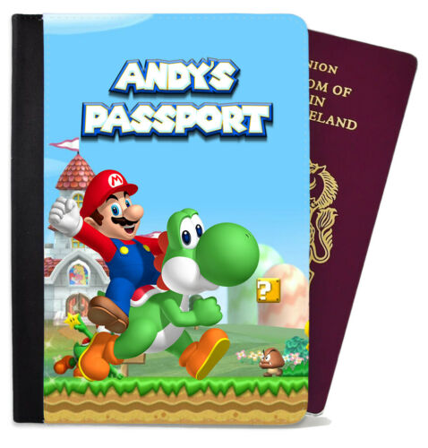 Personalised Any Name Passport Cover Holder Children Kids Mario Design Holiday 5