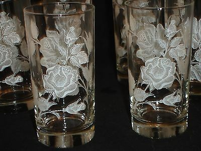 Vintage Libbey Glasses Lot of 6 White Rose 12 oz High Ball Glass Mid Century