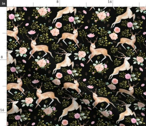 Black Woodland Boho Baby Girl Floral Flowers Spoonflower Fabric by the Yard