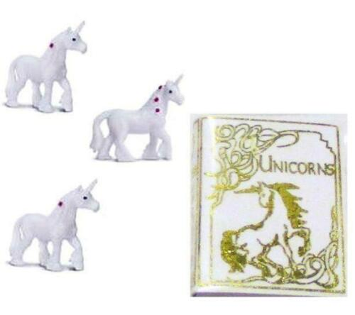 Unicorn Book and set//3 Toy Figures Game Pieces SL348422B Micro-Mini Miniature