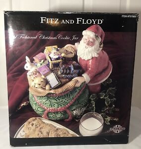 Fitz-and-Floyd-Old-Fashioned-Christmas-Cookie-Jar-Santa-w-Bag-of-Toys-New-in-Box