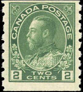 1922-Mint-H-Canada-2c-F-VF-Scott-128ii-Admiral-KGV-Coil-Stamp