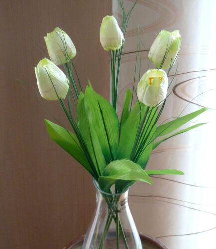 5 x Tulipe//TULIPES crème//vert en soie Fleurs 48 cm avec herbe NEUF