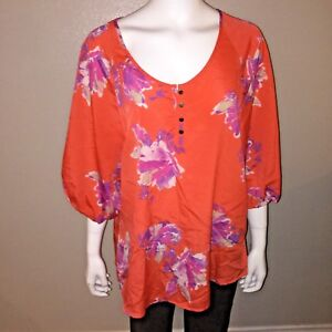 764f512815a08 Jaclyn Smith Blouse Size L Large Womens Floral Orange Peasant 3 4 ...