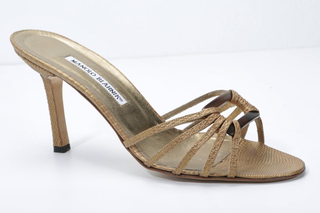 MANOLO BLAHNIK gold Embossed Leather High Heel Sandal Pump Slides 9.5-39.5