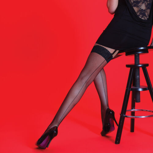 Silky Scarlet Back Seam Seamed Lace Top Black Fishnets Stockings Retro