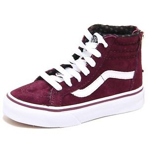 e1a7207cd74e8 Image is loading 7574n-Sneakers-bimbo-Vans-Hi-Zip-bordeaux-con-