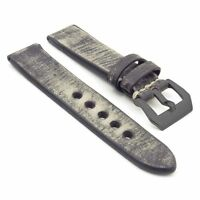 Strapsco Distressed Vintage Black Leather Watch Mens Strap W/ Black Pre-v Buckle