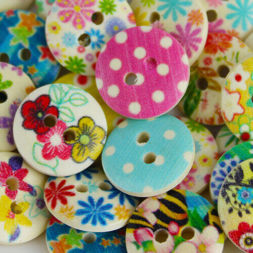 CW/_ CG/_ 100 Pcs Mixed Multicolor 2 Holes Wood Sewing Buttons Scrapbooking 15mm B