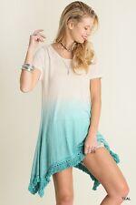 New UMGEE Womens Teal OMBRE Tie Dye FRINGE TRIM Boho Knit Long Tunic Top Dress S